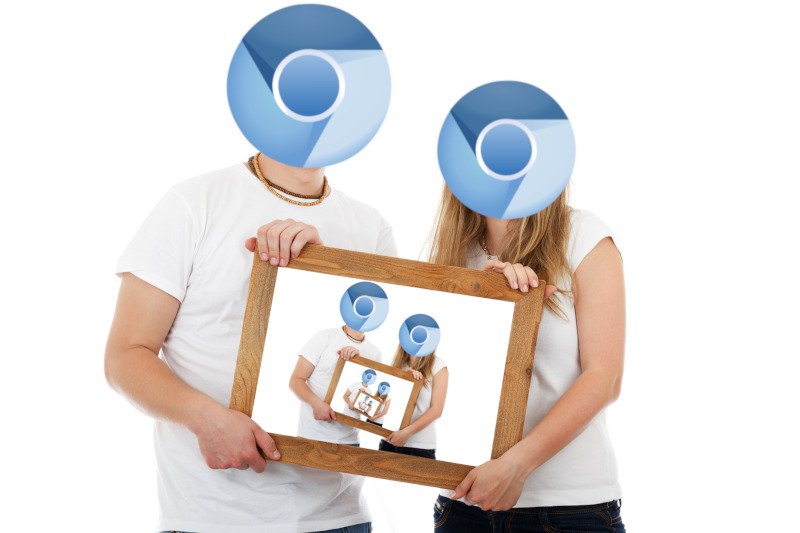 A picture of a couple with the Chromium logo for heads infinitely recursing into a picture frame.